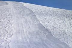 Ski slope at sun evening Royalty Free Stock Photos