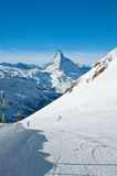 Ski slope in swiss Alps Stock Image