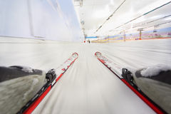 Ski slope. view from ski. Stock Photo