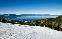 Ski slopes on alpine resort at Lake Tahoe Royalty Free Stock Image