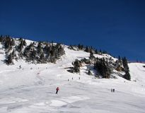 Ski slopes in Alps. Beautiful slope on mountain in Austrian Alps royalty free stock photography