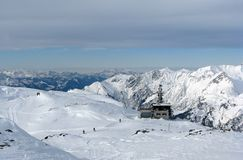 Ski slopes in Alps. Beautiful slope on mountain in Austrian Alps stock photo