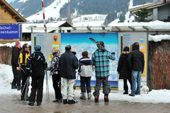 Ski slopes checking tablet for skiers Stock Photo