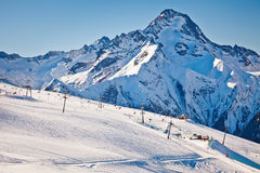 Ski slopes in French Alps Royalty Free Stock Photos