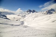 Ski slopes. In French Alps, Vallorcine, France Royalty Free Stock Photography