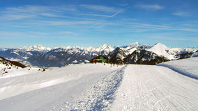 Ski slopes in french alps winter time Royalty Free Stock Image