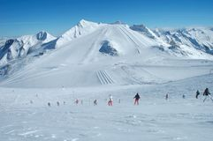 Ski slopes on Hintertux glacier Royalty Free Stock Photo