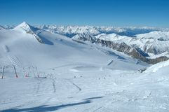 Ski slopes on Hintertux glacier Royalty Free Stock Image
