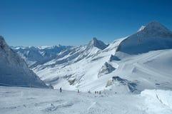 Ski slopes on Hintertux glacier Royalty Free Stock Image