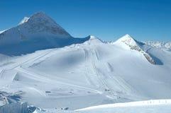 Ski slopes on Hintertux glacier Stock Image
