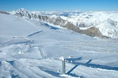 Ski slopes on Hintertux glacier Royalty Free Stock Photos