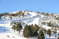 The ski slopes of La Serra, Vallnord, the sector of skiing Pal, the Principality of Andorra, Europe. Ski slope La Serra against the blue sky, Vallnord, Pal Stock Image