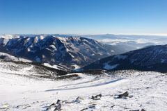 Ski slopes in the Low Tatras at the resort of Jasna. Stock Photos