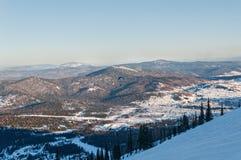 Ski slopes mountain winter panorama Royalty Free Stock Image