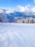 Ski slopes in the mountains of Les Houches winter resort, French Alps Royalty Free Stock Photo