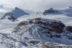 Ski slopes near matterhorn peak, Alps, Switzerland Stock Photo