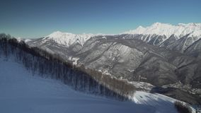 Ski slopes on North slope Aibga Ridge Western Caucasus at all-season resort Gorky Gorod stock footage video stock video