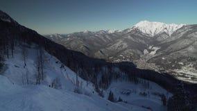 Ski slopes on North slope Aibga Ridge Western Caucasus at all-season resort Gorky Gorod stock footage video stock video footage