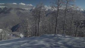 Ski slopes on North slope Aibga Ridge of Western Caucasus at Rosa Khutor Alpine Resort stock footage video stock footage