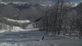Ski slopes on North slope Aibga Ridge of Western Caucasus at Rosa Khutor Alpine Resort stock footage video stock video