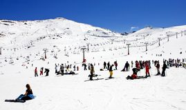 Ski slopes of Pradollano ski resort in Spain Stock Photo