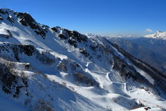 Ski slopes in Rosa Khutor. Sochi, Russia Royalty Free Stock Photos