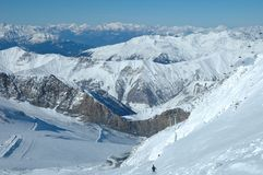 Ski slopes and ski lift on Hintertux glacier Stock Image
