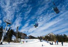 Ski slopes and ski lifts Stock Photo