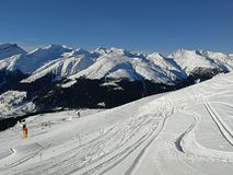 Ski slopes and snow-capped mountains in Davos, Switzerland. royalty free stock photos
