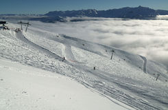 Ski slopes on the southern slope Aibga Ridge of Western Caucasus at Rosa Khutor Alpine Resort Stock Photography