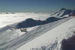 Ski slopes on the southern slope Aibga Ridge of Western Caucasus at Rosa Khutor Alpine Resort Royalty Free Stock Image