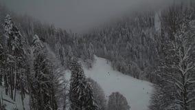 Ski slopes on southern slope Aibga Ridge of Western Caucasus at Rosa Khutor Alpine Resort stock footage video stock footage
