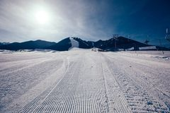 Ski slops on mountains ski resort. In winter Royalty Free Stock Photography