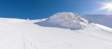 Ski slpoe in Kalavrita ski resort royalty free stock images