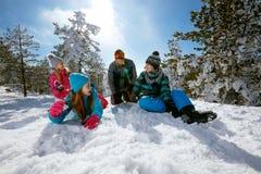 Ski, snow sun and fun - family on ski holiday royalty free stock image