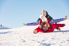 Ski, snow sun and fun - happy family on ski holiday Royalty Free Stock Photography
