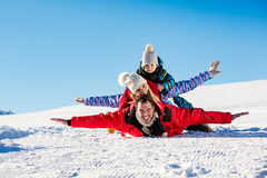 Ski, snow sun and fun - happy family on ski holiday Stock Photography
