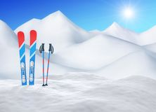 Ski in snow on the top of snowy mountains in sunny day vector illustration