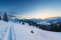 Ski snow tracks in austrian mountains Stock Image