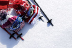 Ski and snow winter sports background with skiing equipment and copy space Royalty Free Stock Photos