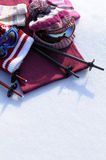 Ski and snow winter sports background with skiing equipment, white copy space, vertical Stock Image