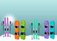 Ski and snowboard background. Winter sport, ski and snowboard poster or flyer background with space Stock Photos