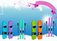 Ski and snowboard background Royalty Free Stock Photo