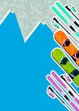 Ski and snowboard background Stock Photo