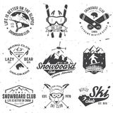 Ski and Snowboard Club emblem. Vector illustration. Concept for shirt, print, stamp, badge or tee. Vintage typography design with snowboarder and skier Royalty Free Stock Photography