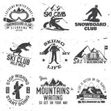 Ski and Snowboard Club emblem. Vector illustration. Concept for shirt, print, stamp, badge or tee. Vintage typography design with snowboarder and skier Royalty Free Stock Photos