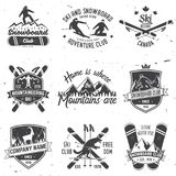 Ski and Snowboard Club emblem. Vector illustration. Concept for shirt, print, stamp, badge or tee. Vintage typography design with snowboarder and skier Stock Photos