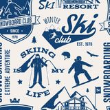 Ski and Snowboard Club seamless pattern. Vector illustration. Concept for shirt, print, stamp, badge or tee. Vintage typography design with snowboarder and Royalty Free Stock Images
