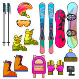 Ski and snowboard color equipment vector line icon set. Royalty Free Stock Photos