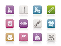 Ski and snowboard equipment icons Stock Image